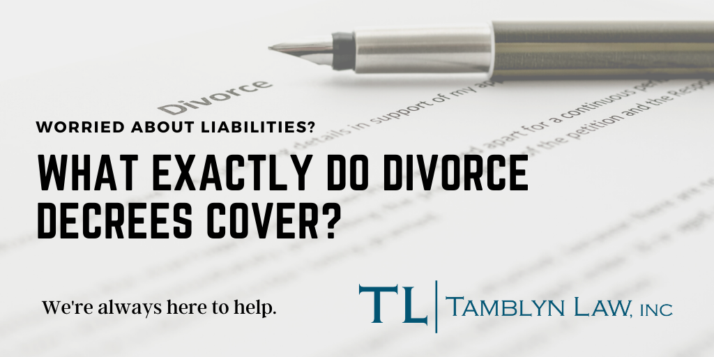 What exactly do divorce decrees cover?